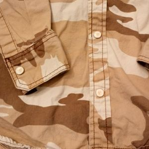 wear first Shirts - Tan & brown camo button front shirt camouflage